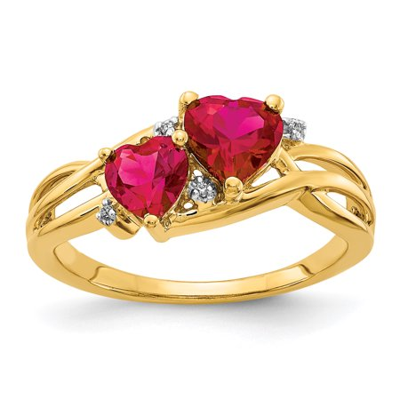 Gold Diamond & Ruby Ring (Lex & Lu 14k Yellow Gold Lab Created Ruby and Diamond Double Heart Ring Size 7 )