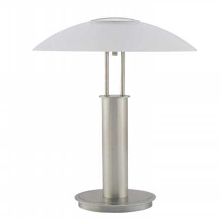 18 in. Touch Lamp Table - Brushed Nickel with Glass Mushroom Lamp Shade Mushroom Shade Table Lamp