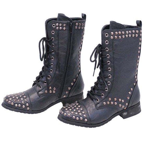 15ca4cb2872 Women's Studded Combat Boots with Zipper #BLC523LSK