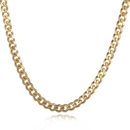 Hermah 5mm Mens Boys Gold Tone Curb Cuban Necklace Stainless Steel Chain 18-24inch