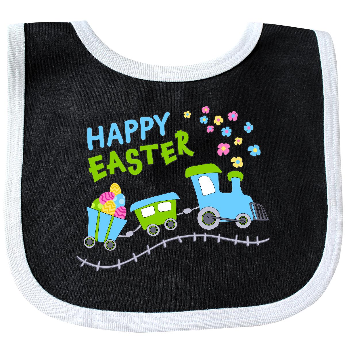 Inktastic Happy Easter Train Baby Bib Kids Eggs Flowers Spring Pastels Fun Track