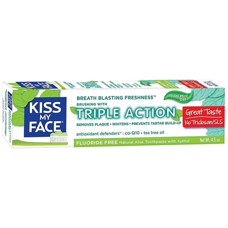 Kiss My Face Triple Action Flouride Free Toothpaste Cool Mint Gel, 4.5