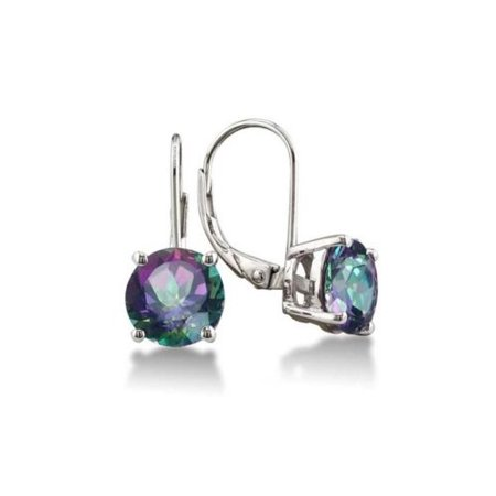 Bedazzledbijou Drop Dangle Silver Mystic Topaz Teardrop Leverback Earrings