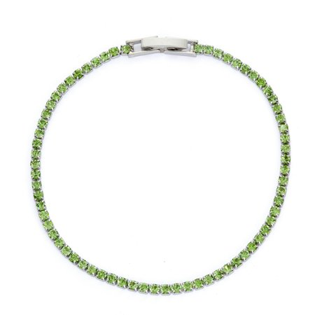 X & O Rhodium Plated Crystal Solid Pastel Tone Style Single Row Bracelet in Peridot
