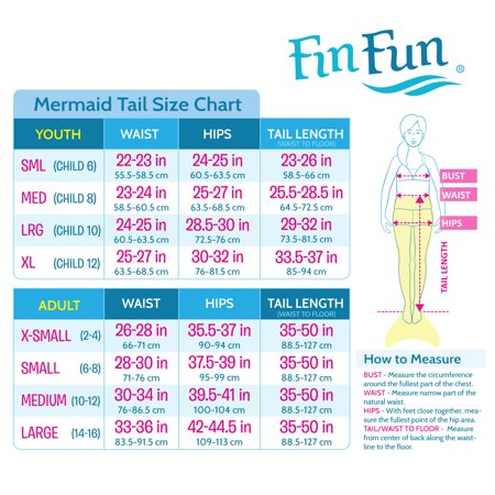 Mermaid Tails by Fin Fun Tail Skin Only - in Kids and Adult Sizes (NO  MONOFIN)