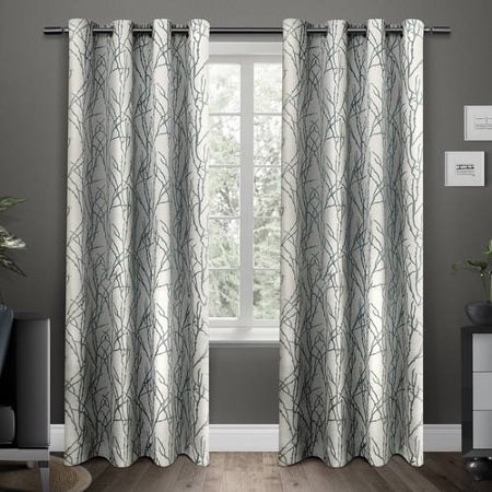 Line Blend (Exclusive Home Curtains 2 Pack Branches Linen Blend Grommet Top Curtain Panels)