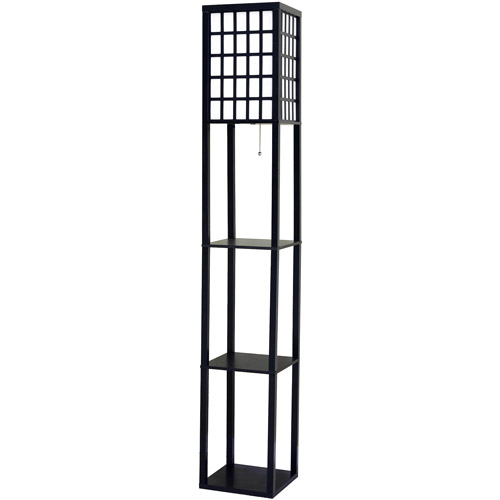 Better Homes And Gardens Grid Shelf Floor Lamp, Black