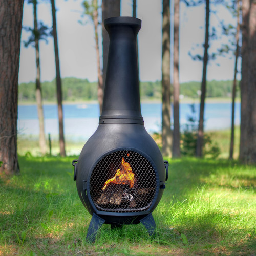 The Blue Rooster Aluminum Wood Burning Chiminea by Chimineas