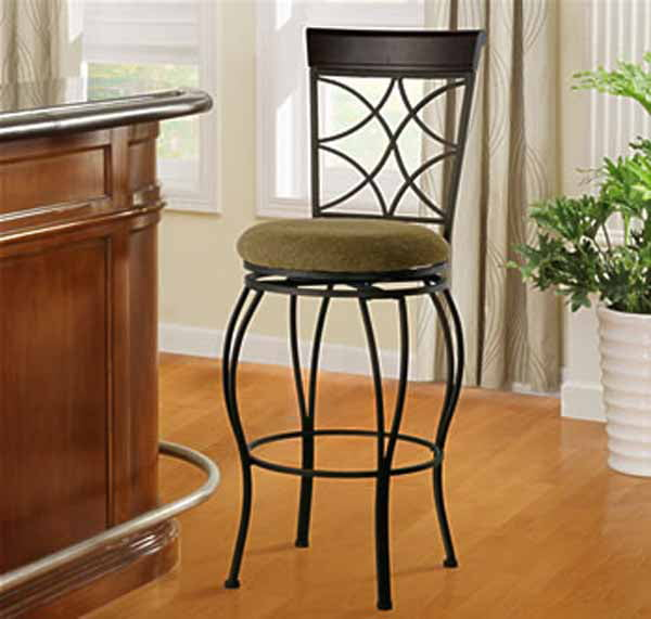 "29.9"" Curves Back Barstool Metal/Brown - Linon"
