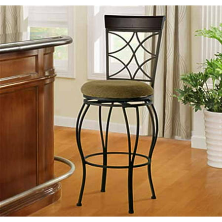 29.9u0022 Curves Back Barstool Metal/Brown - Linon