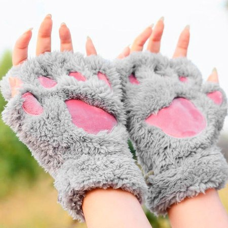 Sofe Women Winter Claw Gloves Fluffy Bear Paw Mittens Lady Half Finger Gloves - image 2 of 16