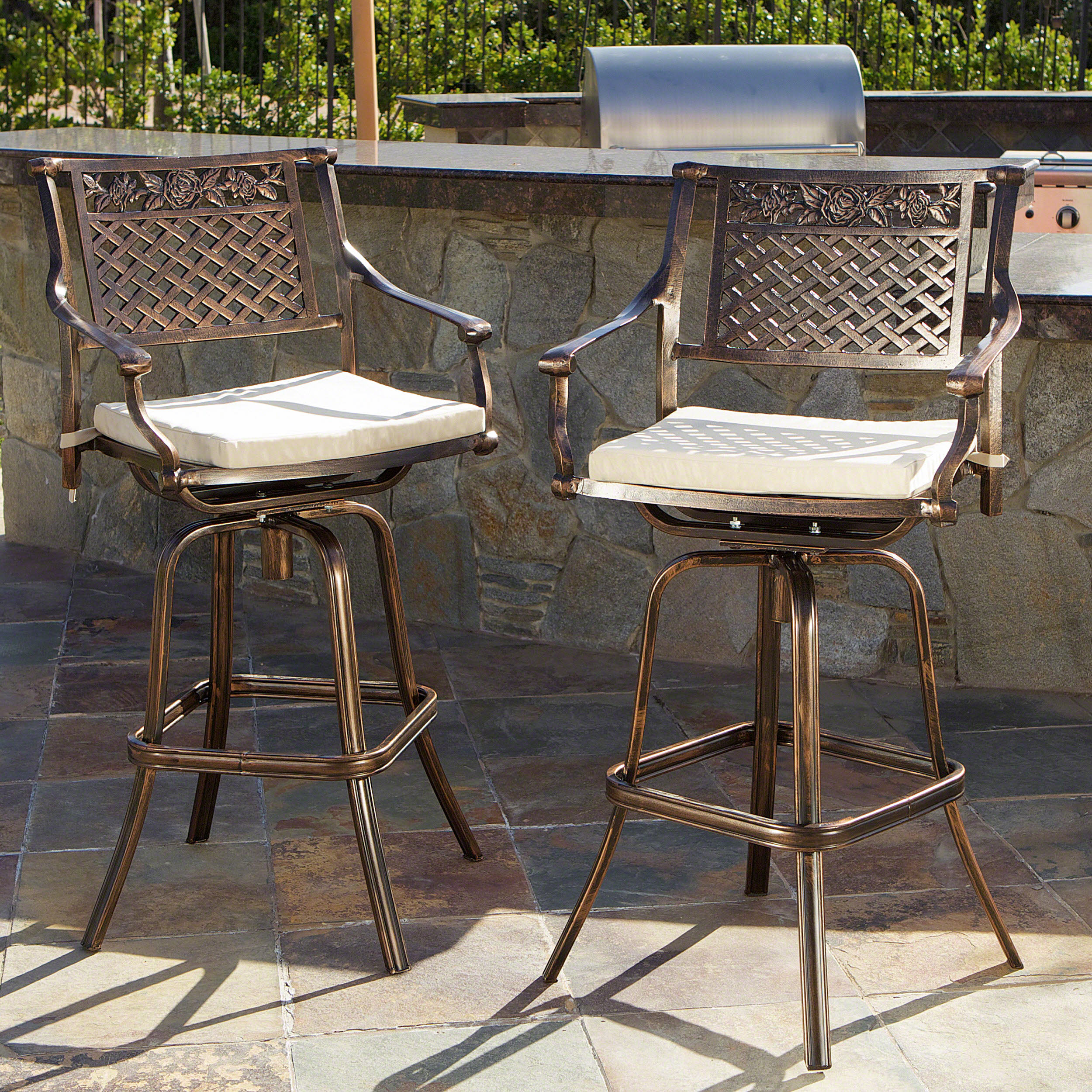Emory Cast Aluminum Barstool with Cushions, Set of 2, Copper