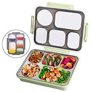 Lunch Bento Box Insulated Stainless Steel Square Food Storage Container Leakproof with Sealed Compartment for Woman Man Work (Green 5 Sealed Compartment)