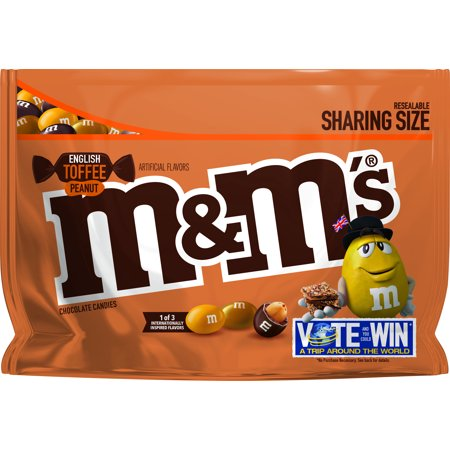 M&M'S English Toffee Peanut Chocolate Candy Flavor Vote 9.6-Ounce - Almond M&ms
