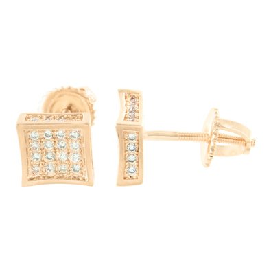 Rose Gold Kite Earrings Screw Back 14k Finish Simulated Diamonds Micro - 14k White Gold Micro Pave