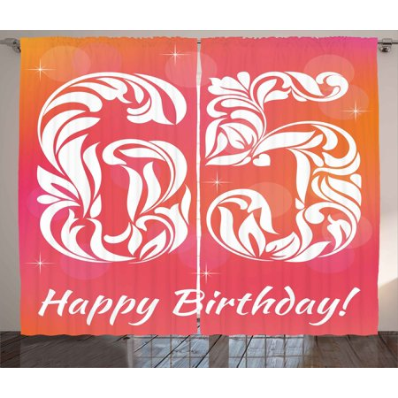 65th Birthday Curtains 2 Panels Set, Greeting Card Inspired Design ...