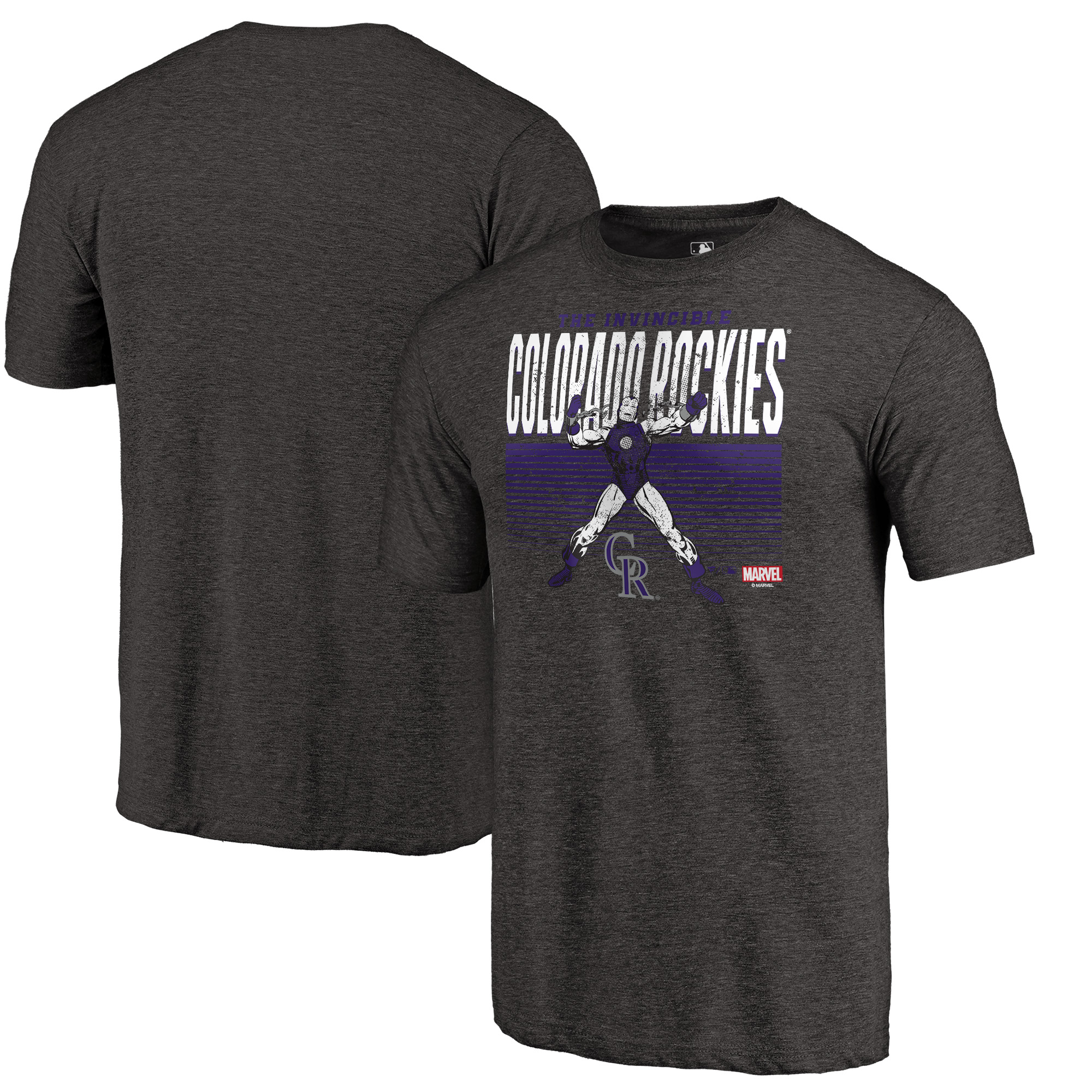 Colorado Rockies Fanatics Branded Marvel Iron Man Invincible Tri-Blend T-Shirt - Black