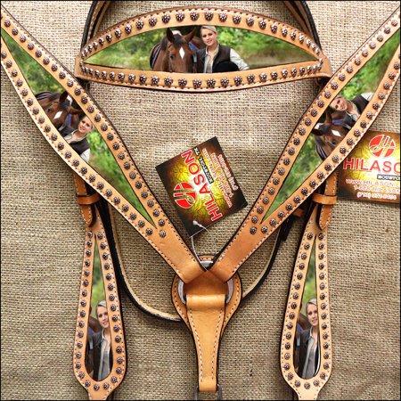 HILASON WESTERN AMERICAN LEATHER HORSE HEADSTALL BREAST COLLAR PORTRAIT TAN