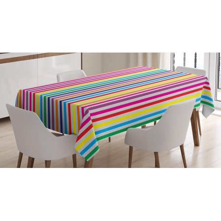 Colorful Tablecloth, Vibrant Rainbow Colored Vertical Stripes Pattern on White Background Illustration, Rectangular Table Cover for Dining Room Kitchen, 60 X 90 Inches, Multicolor, by Ambesonne ()