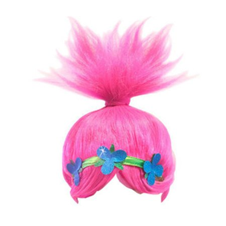 AkoaDa Trolls Dress Cosplay Wig+headband Trolls Wigs Poppy Dress 2019 Trolls Girls Party Cosplay Dress Up