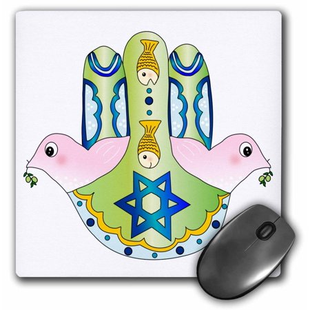 3dRose Jewish Chamsa - Hamsa hand with pink peace doves blue magen david star and fish Judaism Jew Judaica, Mouse Pad, 8 by 8 inches