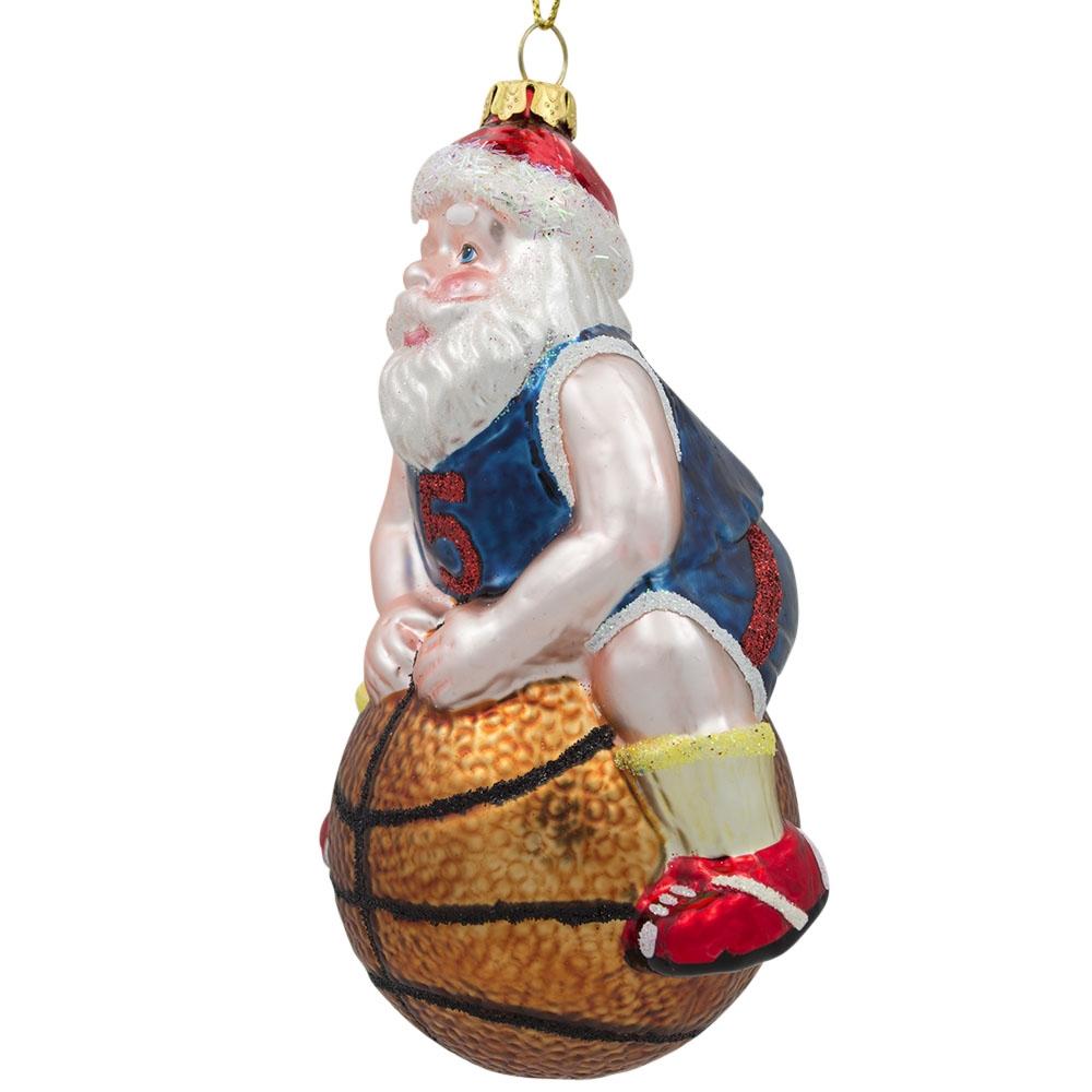 Sports christmas ornaments - 5 Santa Claus Basketball Player Sports Ball Glass Christmas Ornament Walmart Com
