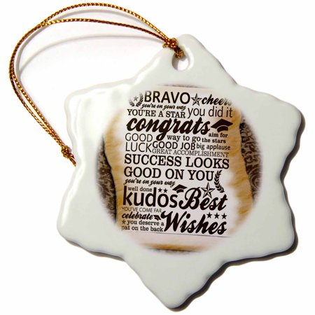 3dRose Bravo Cheer Congrats - Snowflake Ornament, 3-inch Good Cheer Ornament