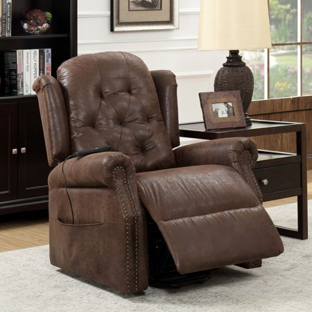 Furniture of America  Hind Traditional Brown Faux Leather Recliner Traditional Brown Leather