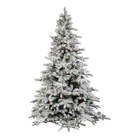 Vickerman Christmas Trees.Vickerman Pre Lit 4 5 Flocked Utica Fir Artificial Christmas Tree Led Multicolor Lights
