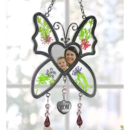 Butterfly Suncatcher - Mom Butterfly with Pressed Flowers and a Heart Shaped Picture Opening - Mother Sun Catcher - Butterfly Suncatcher