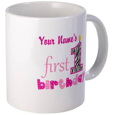 Cafepress Personalized Pink Candle 1st First Birthday Mug