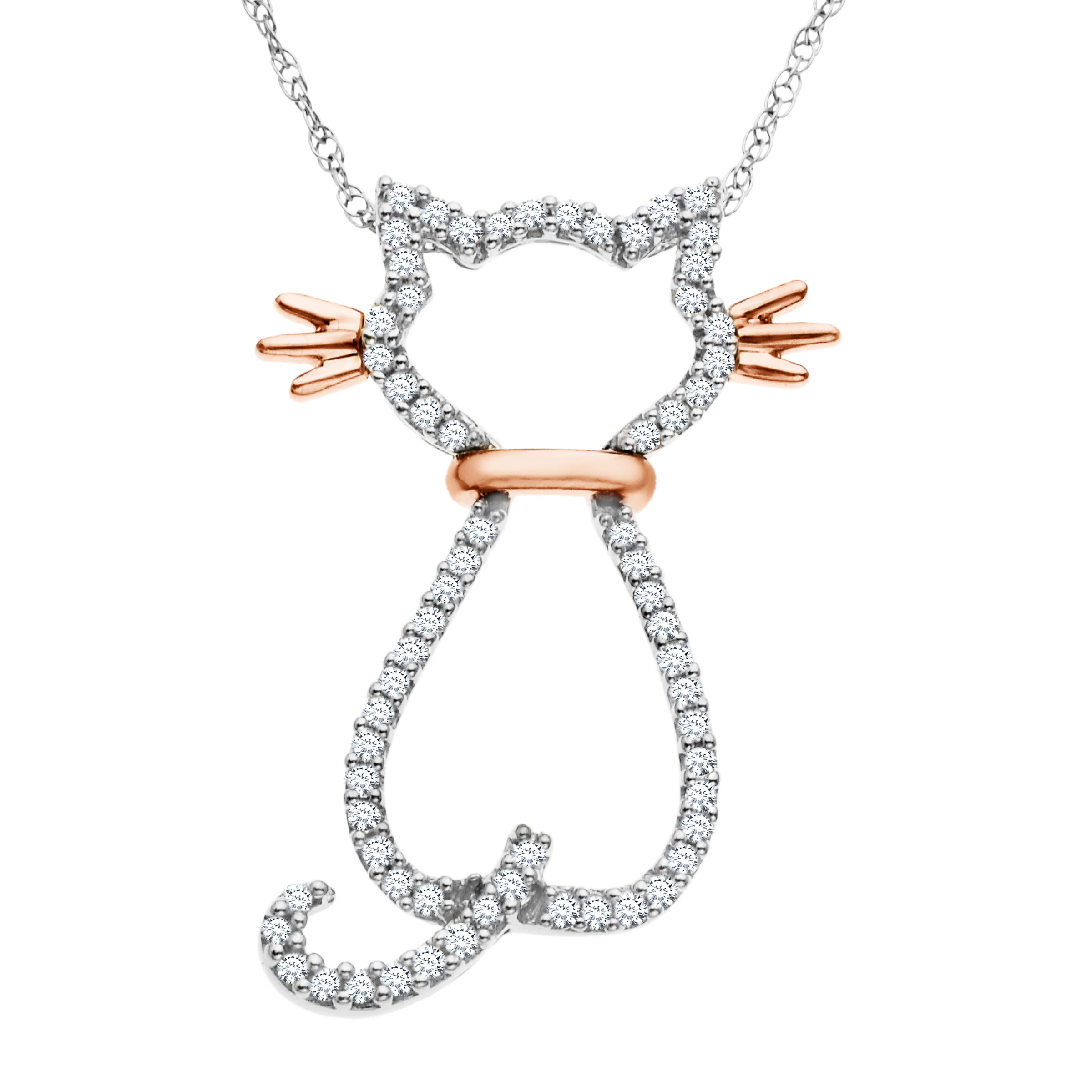 1 5 ct Diamond Cat Pendant Necklace in 14kt Rose Gold by Richline Group