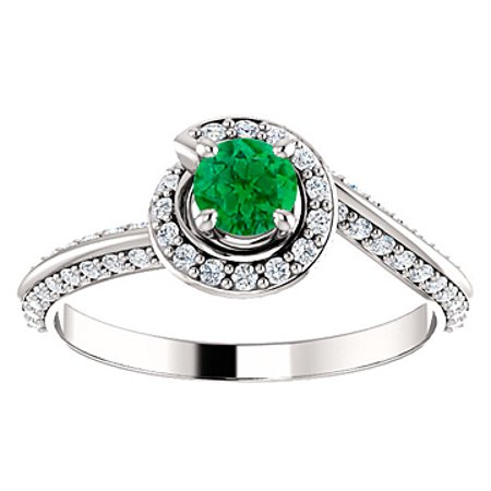 Cool Green Emerald CZ Swirl Halo Ring in 14K White Gold - image 6 de 8