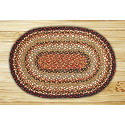 Earth Rugs Burgundy/Mustard/Ivory Braided Area Rug