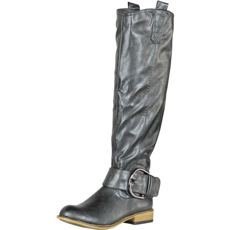 Crinkle Buckle - BAMBOO PARKSVILLE-01 Women's Crinkle Buckle Riding Knee High Boots