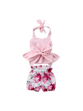 Newfant Infant Baby Girls 2Pcs Sleeveless Backless Halter Bowknot Top Floral Shorts Outfit Set Summer Clothes