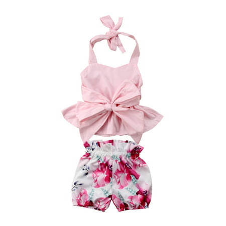 Newfant Infant Baby Girls 2Pcs Sleeveless Backless Halter Bowknot Top Floral Shorts Outfit Set Summer -