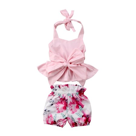 Newfant Infant Baby Girls 2Pcs Sleeveless Backless Halter Bowknot Top Floral Shorts Outfit Set Summer Clothes](Infant Thanksgiving Outfit)