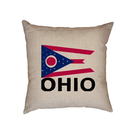 Ohio State Flag Special Vintage Edition Decorative Linen Throw Cushion Pillow Case With Insert