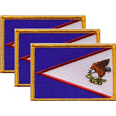 """Pack of 3 Country Flag Patches 3.50"""" x 2.25"""", Three International Embroidered Iron On or Sew On Flag Patch Emblems (American Samoa)"""
