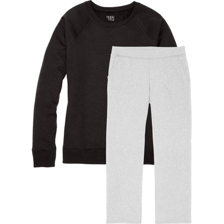 - Time and Tru Women's Essential Fleece Crewneck Pullover and Open Bottom Sweatpant (set)