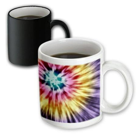 3dRose Tie Dye Purple starburst tie dye design in purple yellow and red, Magic Transforming Mug, - Starburst Reds