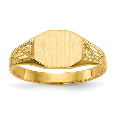 Solid 14k Yellow Gold Mens Signet Ring Size 6 14k Signet Mens Ring