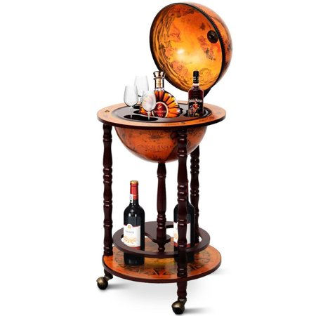 Gymax Wood Globe Wine Bar Stand 16th Century Italian Rack Liquor Bottle Shelf ()
