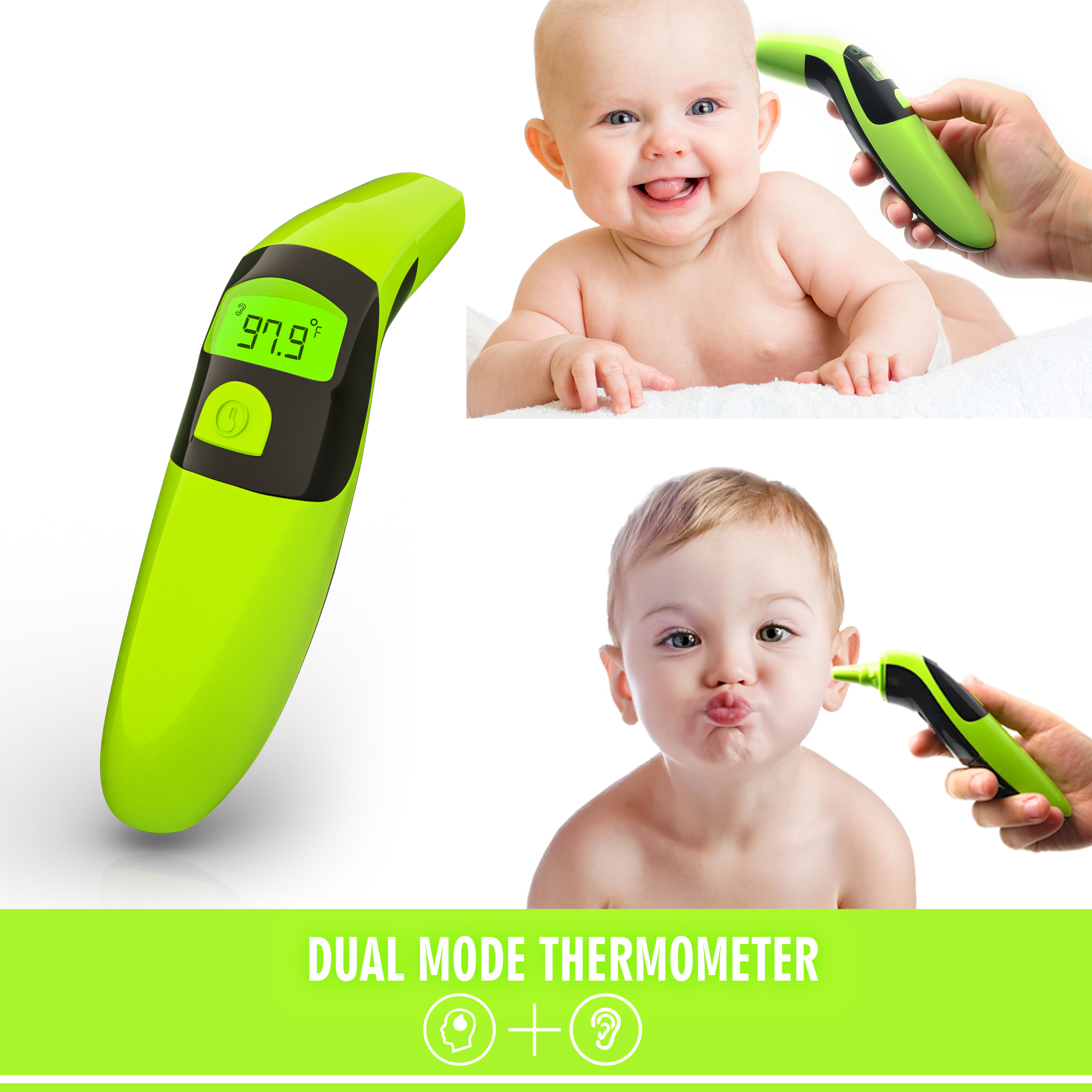 Ormia Ear and Forehead Baby Thermometer, Suitable for Infant, Toddler and Adult. FDA and CE Approved.