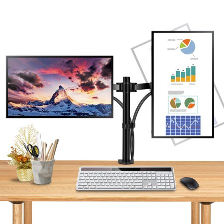 Zeny Dual LCD Monitor Desk Mount Stand Heavy Duty Fully Adjustable Arms hold Two (2) Screens up to 27