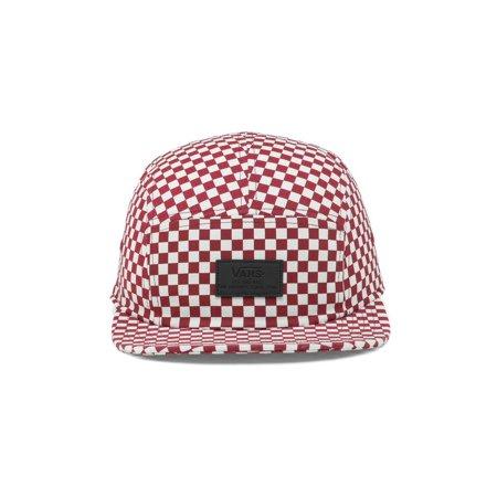 Vans Davis 5 Panel Checkerboard Adjustable Hat Red/White