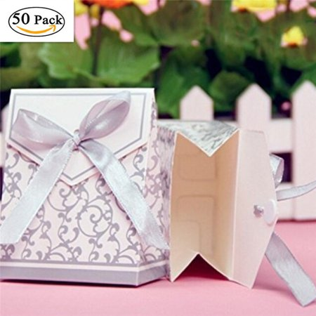 50pack Silver Ribbon Wedding Favor Boxes Wedding Gift Bags Chocolate