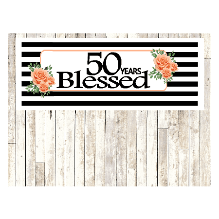 Number 50 50th Birthday Anniversary Party Blessed Years Wall Decoration Banner 10 X 50inches