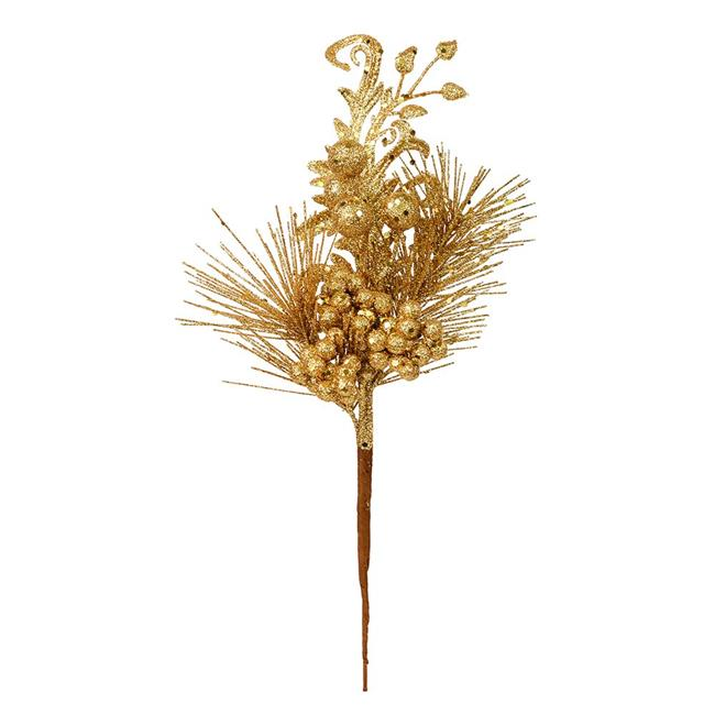 "Vickerman 555279 - 10"" Antique Gold Berry Glitter Leaf Pick (12 pack) (L185530)"